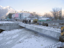 A bridge being built as part of the widening and improvement of the road between Dushanbe and Khujand in Tajikistan using Chinese labor and equipment.