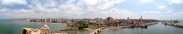 Panorama of Sidon as seen from the top of the Sea Castle, 2009